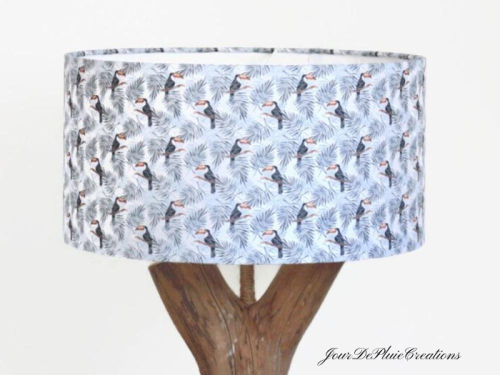 abat jour toucans exotique tropical cylindre 40 cm idée cadeau noël anniversaire