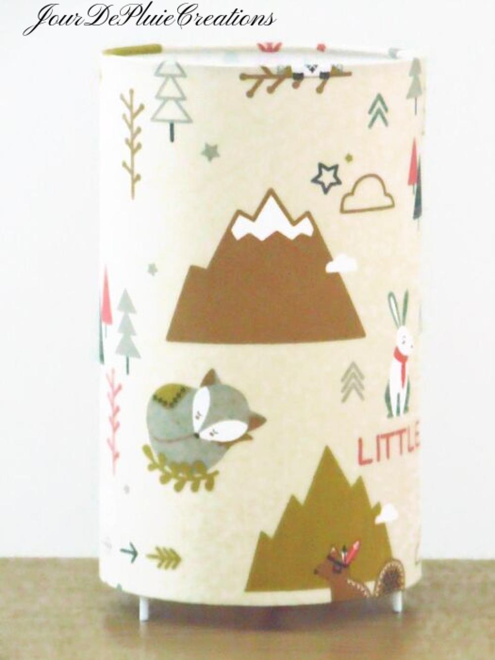 Lampe tube motifs nature aventures montagne lampe chevet d'appoint idée cadeau naissance bébé chambre enfant