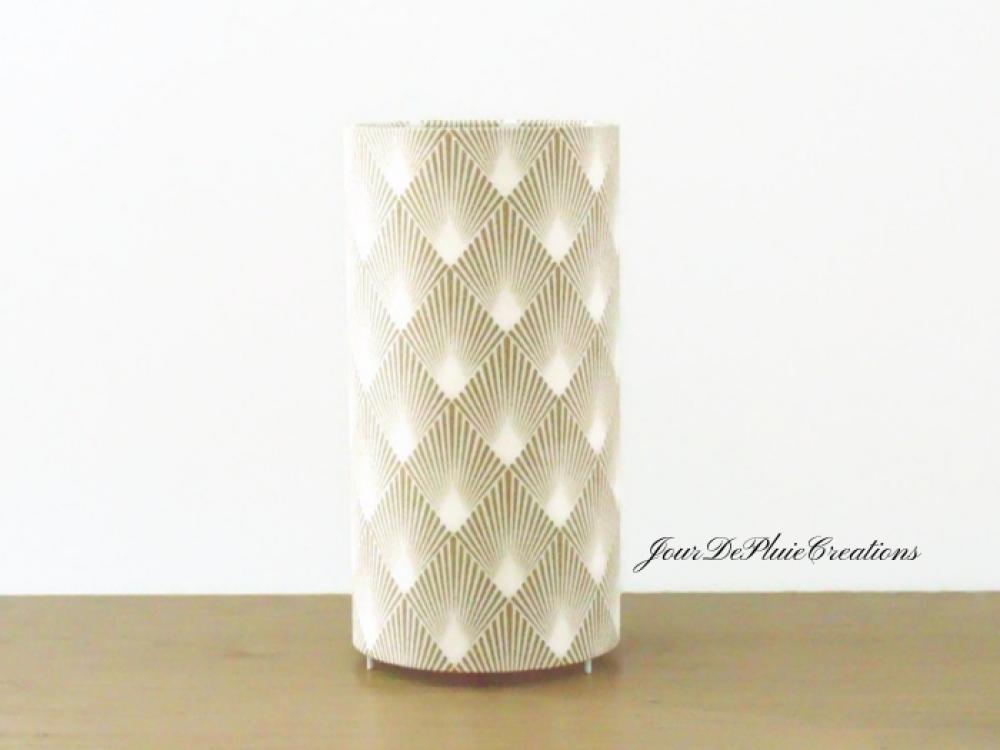 lampe tube motif art déco or - géométrique - lampe chevet ou d'appoint - idée cadeau - hygge - scandinave