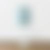 Lampe métal pied blanc abat-jour feuilles exotiques bleues cylindre 18 cm idée cadeau noël anniversaire