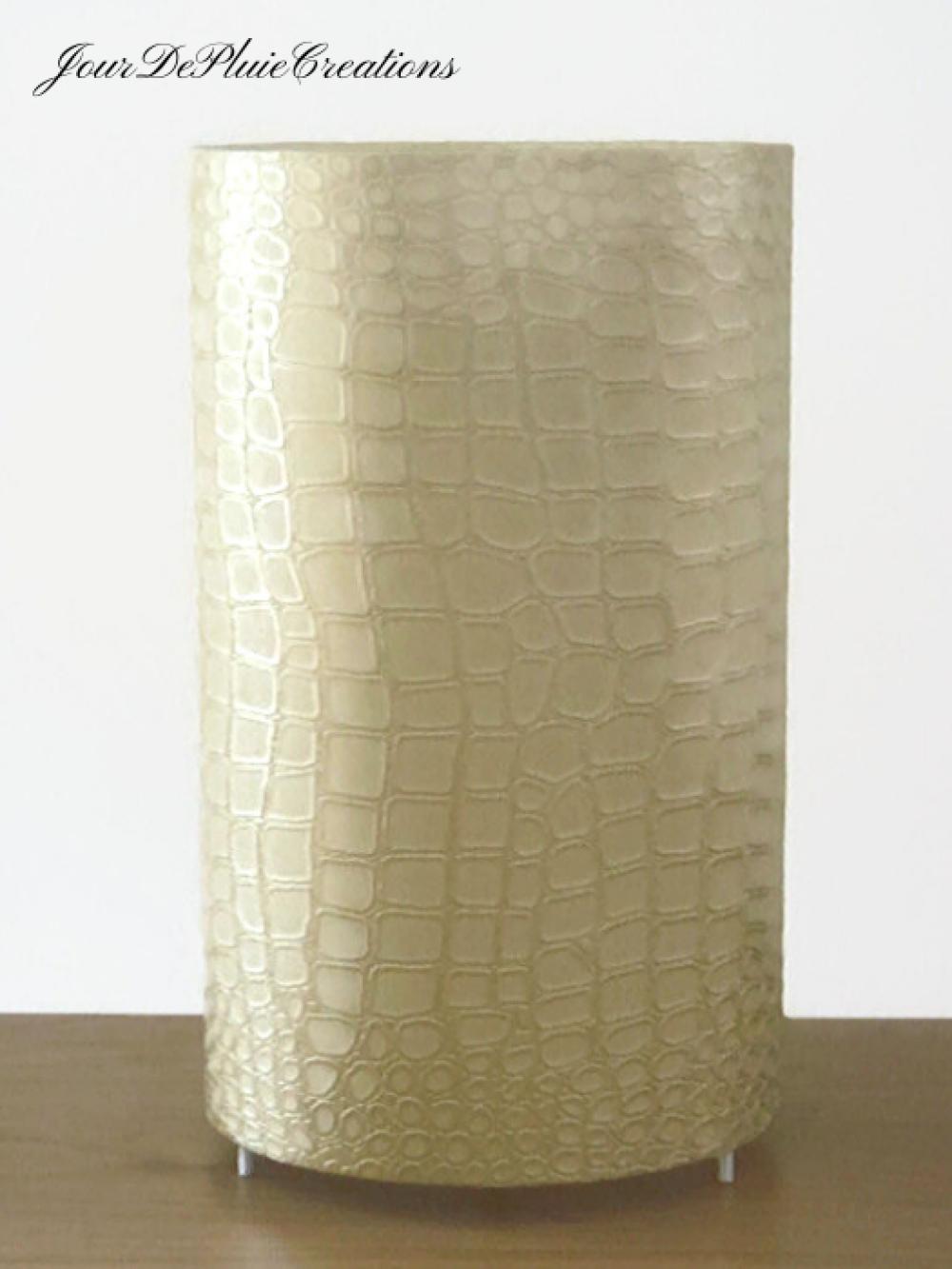 Lampe tube motif peau de crocodile or lampe chevet ou d'appoint idée cadeau cocconing