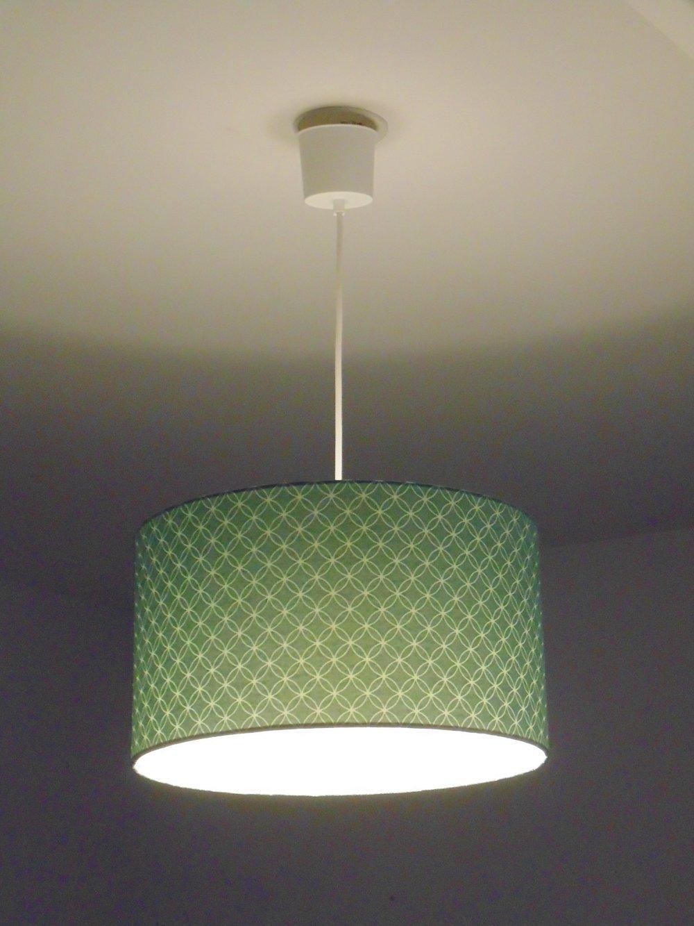 Lustre suspension plafonnier abat jour motif bleu géométrique cylindrique 35 cm  + fil électrique