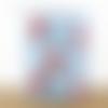 Lampe tube tissu bleu motifs panda roux et lapin lampe chevet d'appoint idée cadeau naissance bébé chambre enfant