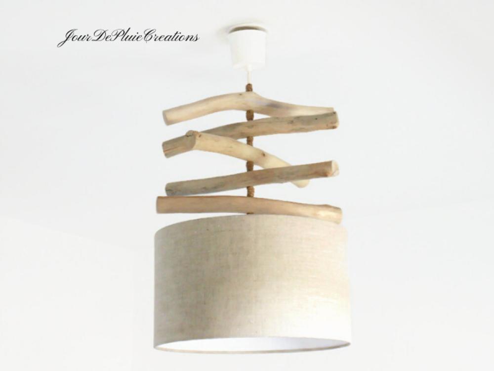 Lustre bois flotté abat jour lin cylindrique 35cm - suspension cylindre - plafonnier rond - idée cadeau noel