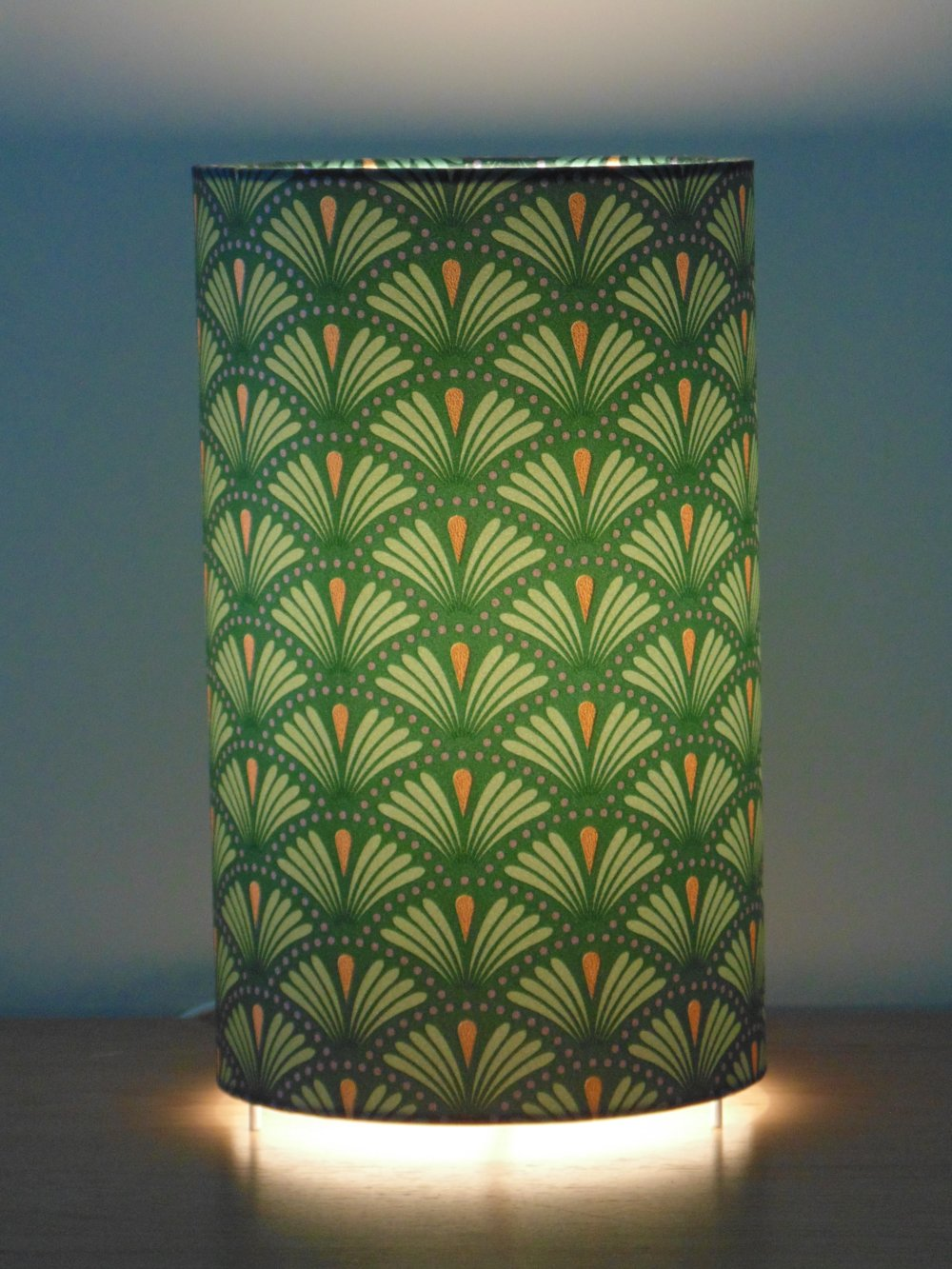 Lampe tube motif éventail art déco vert et or lampe chevet ou d'appoint idée cadeau hygge scandinave cocconing
