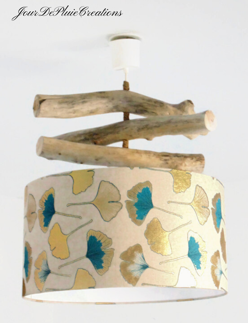 Lustre bois flotté abat jour esprit lin motifs feuilles ginkgo biloba bleu 45 cm - plafonnier rond - idée cadeau no