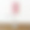 Lampe métal pied chrome abat-jour mini plumes de paon rose 15cm