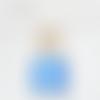Lustre bois flotté abat jour lin bleu 30cm
