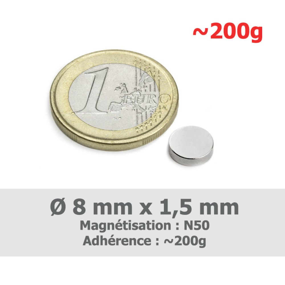 10 aimant 8mm x 1,5mm (rond)