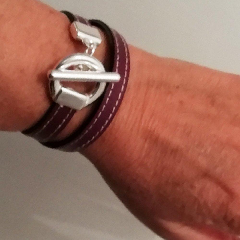 Bracelet cuir surpiqué double tour violet prune