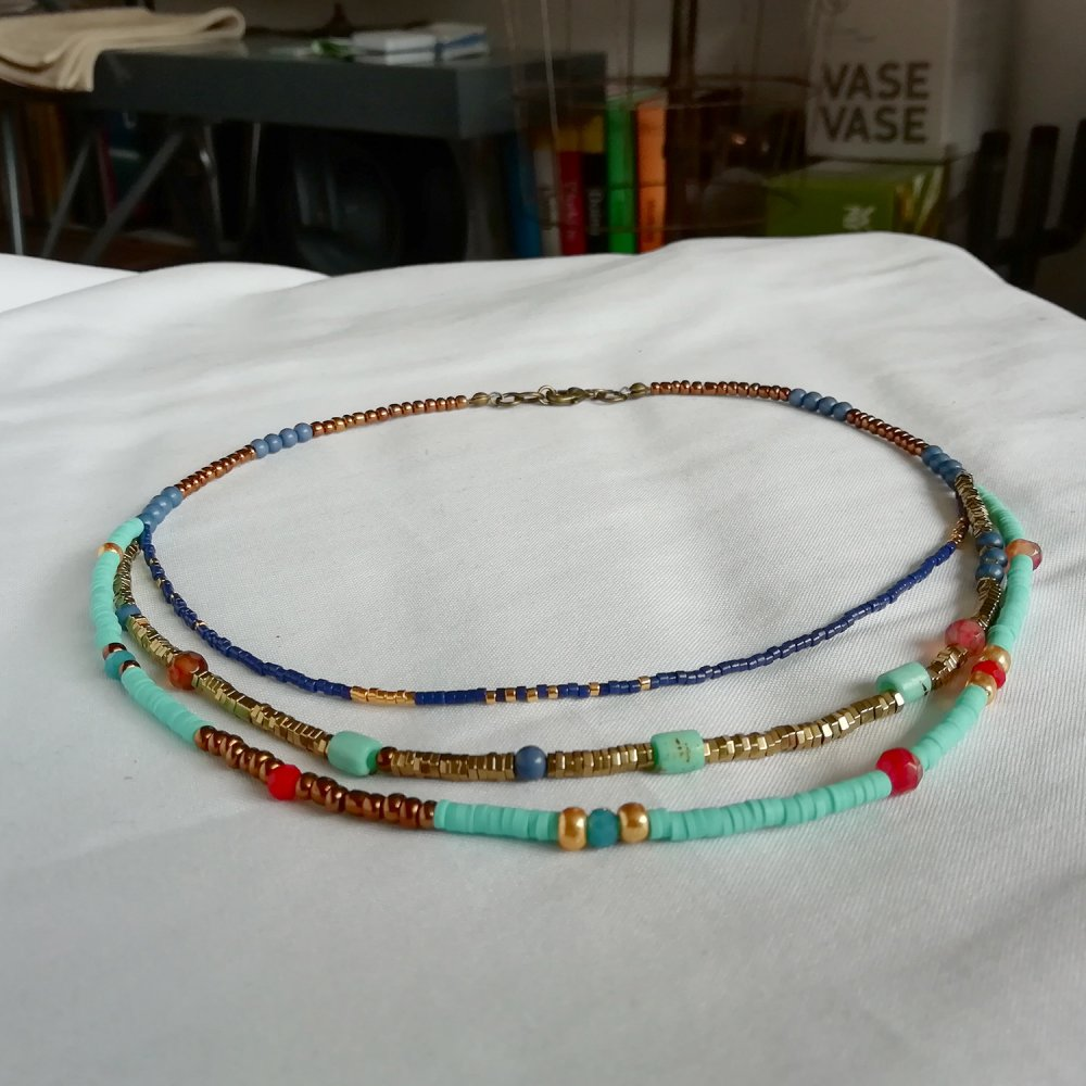 Collier Heishi Boho-chic Ethnique multi rangs