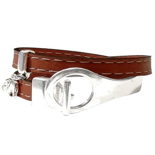 Bracelet cuir pour femme fermoir demi jonc