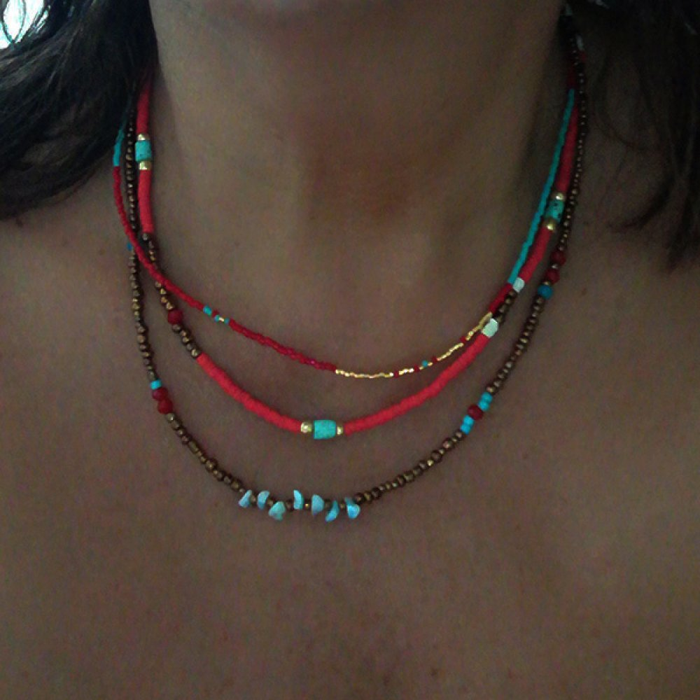Collier Heishi Boho-chic Ethnique multi rangs
