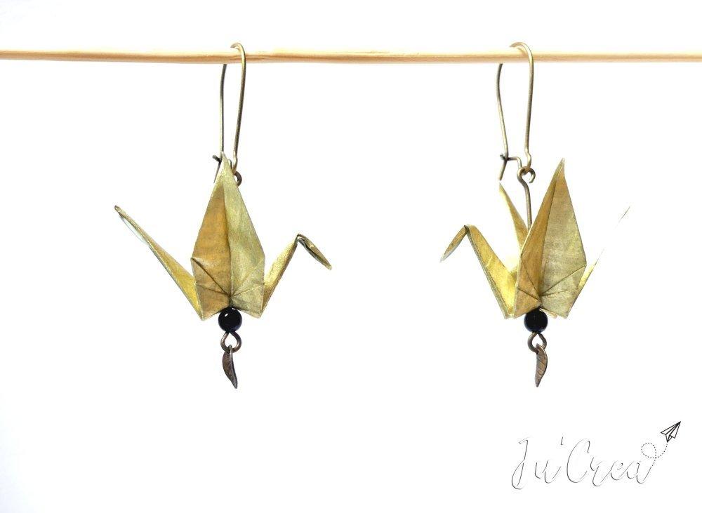 Boucle d'oreille Origami Grue doré / or