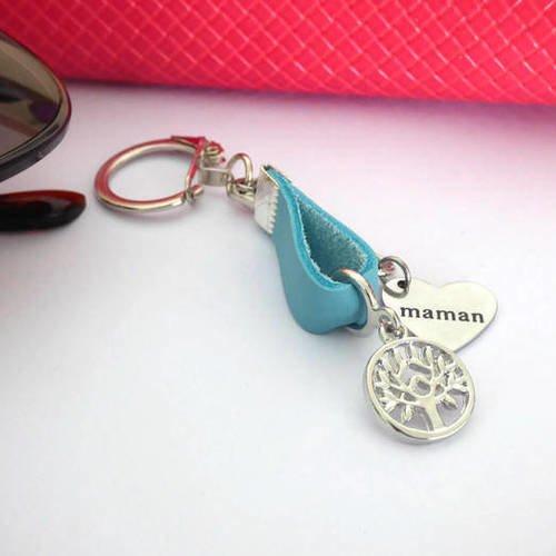 Porte clé arbre de famille coeur et cuir gravé maman