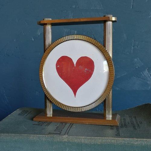 """Cadre déco, cadre réveil cœur """"doré rouge"""""""