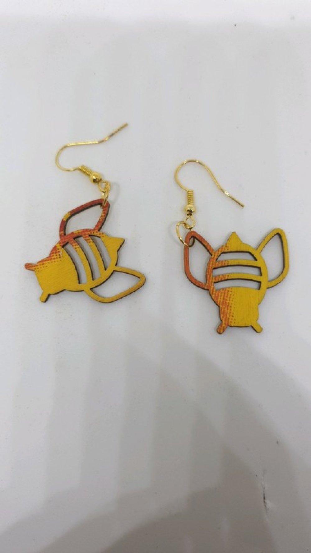 Boucles d'oreilles abeilles en bois