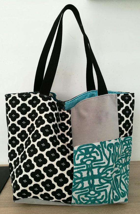 Grand sac cabas réversible patchwork