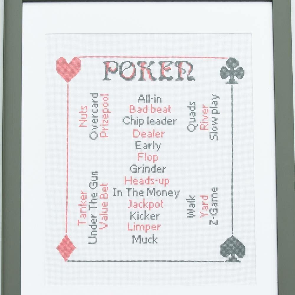 """grille broderie point de croix """"les termes de poker"""""""