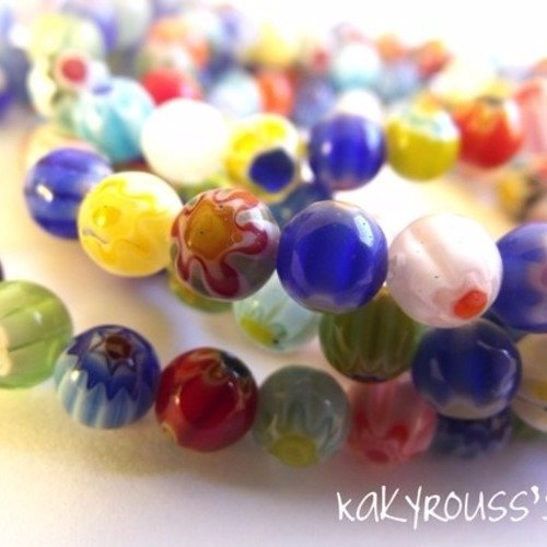 Perle de verre multicolore à fleurs Millefiori pour breloques de style