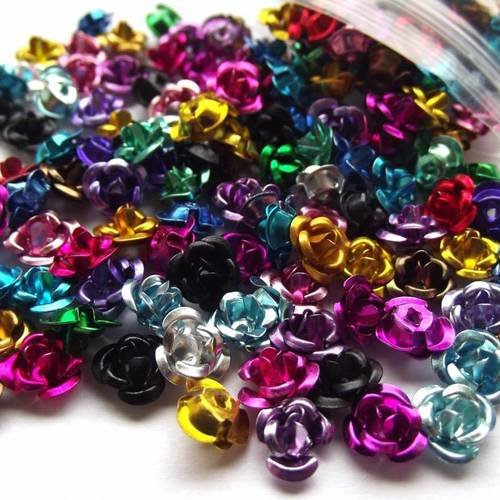 X100 perles 6 mm fleur rose aluminium métal multicolore mélange aléatoire