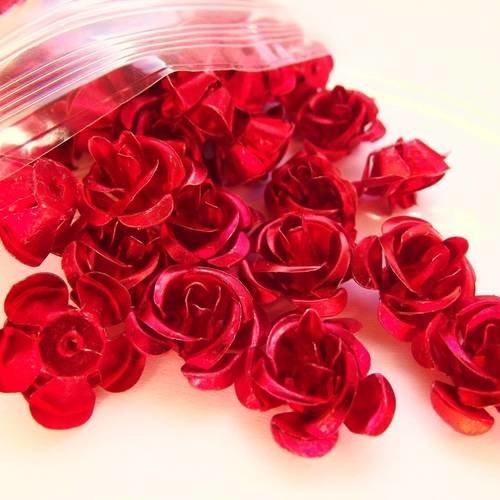 Vert roses métal aluminium 6mm 90 perles fleurs