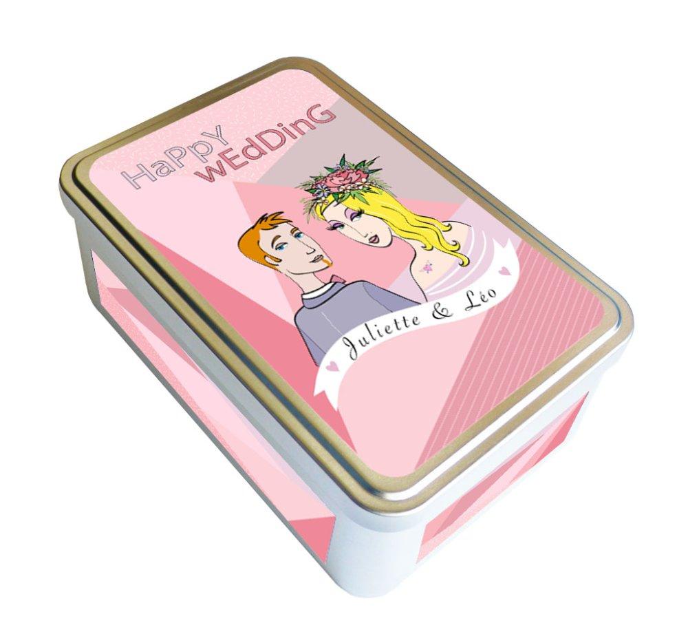 Boite cadeau mariage, fiançailles, 4 couleurs au choix, cadeau crémaillère, boite métal personnalisable prénoms