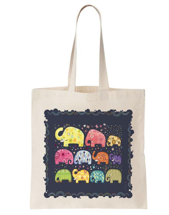 """Sac Tote bag coton Bio """"Eléphants"""" bleu, multicolore, sac cabas, cadeau fille, ado, femme"""