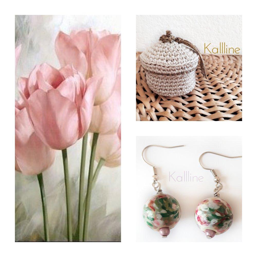 Boucles d'oreilles  Perle artisanale Kallline