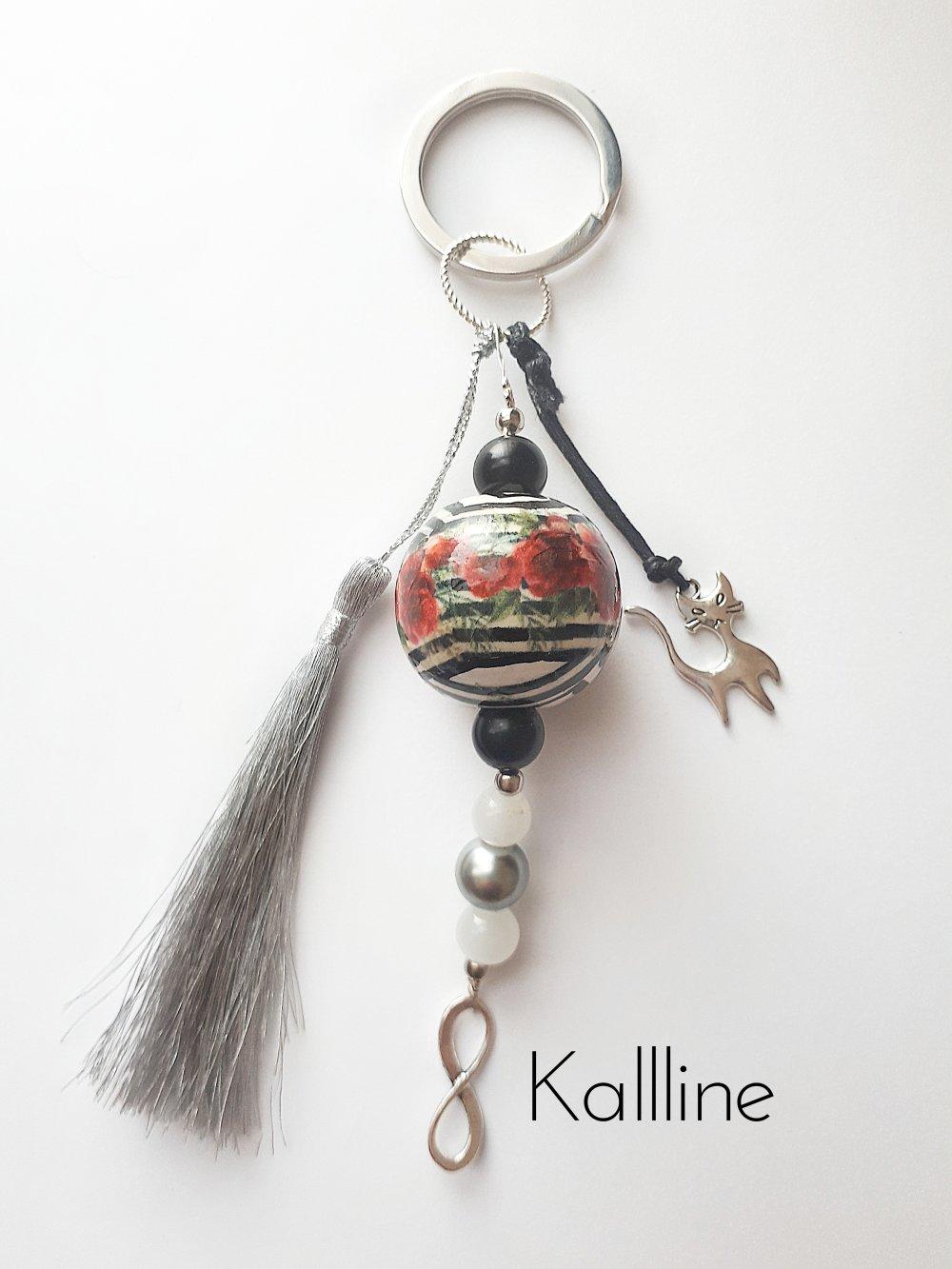 Porte-clés  'Un petit chat dans mon Jardin'