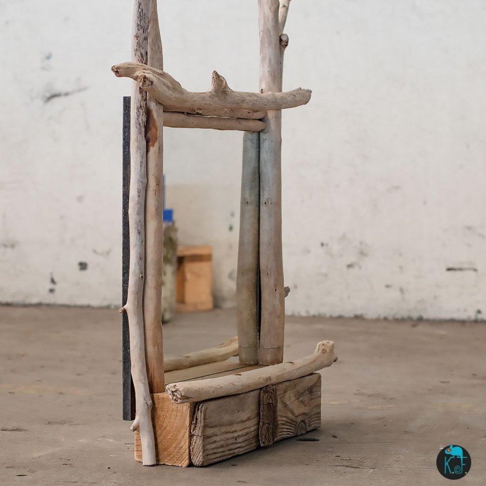 """Miroir étagère """"Luna"""" en bois flottes"""