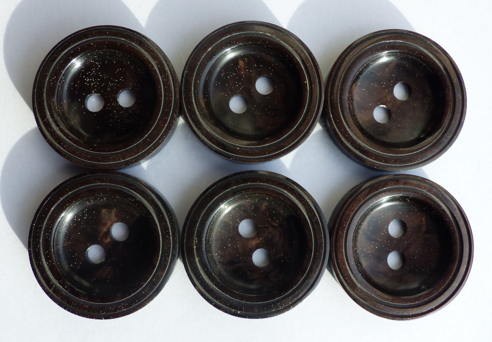 Bouton rond Vintage brun fonce (lot de 5)