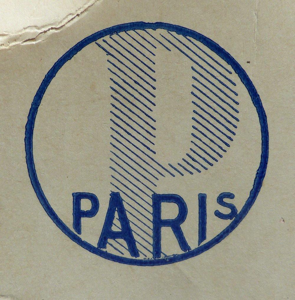 Bouton rond noir nacre PARIS (lot de 6)