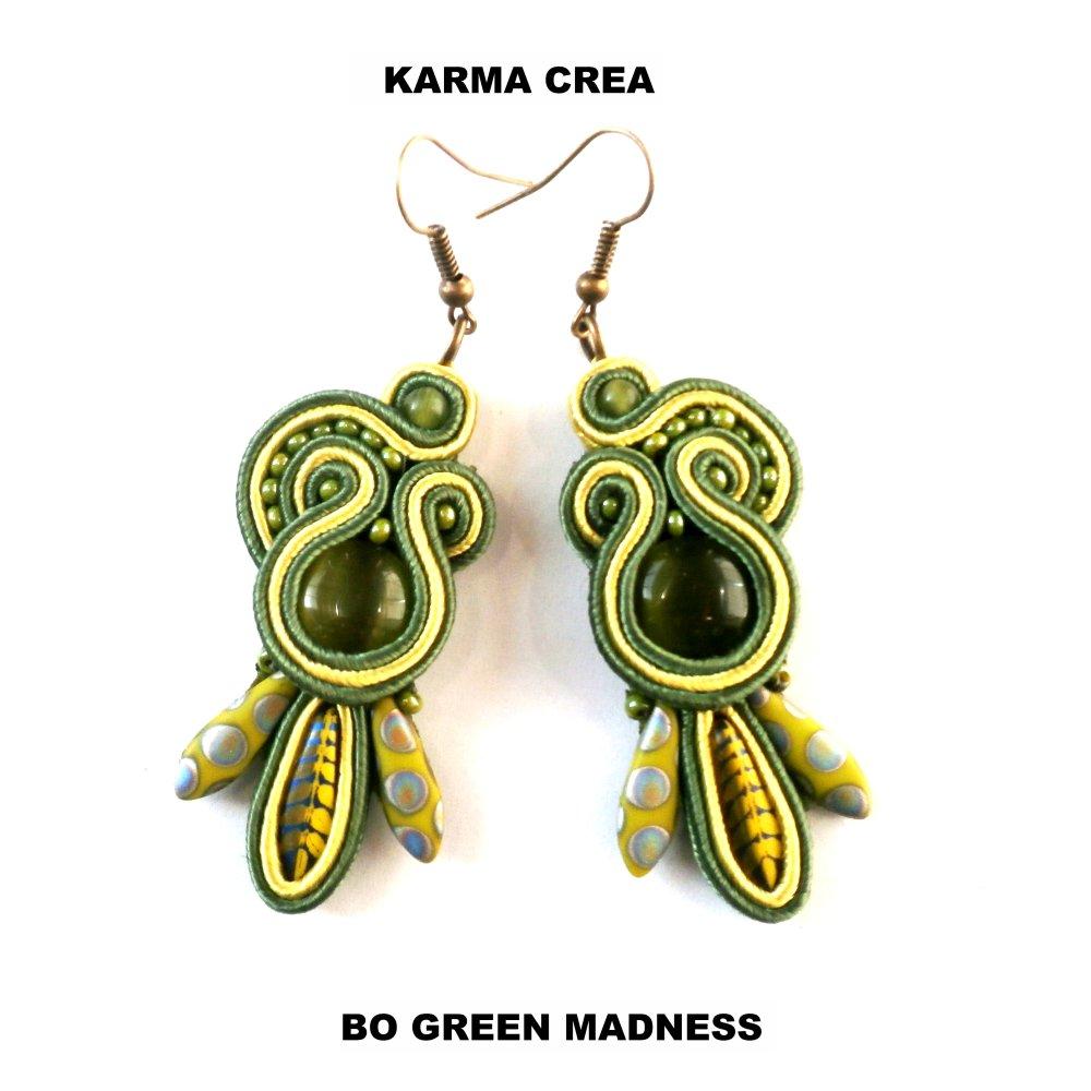 boucles d'oreille en soutache green madness