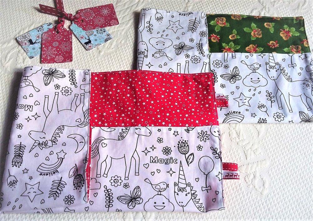 Serviettes de table enfant tissu personnalisable ,set de table enfant personnalisable ,tissu tipis ,cadeau de Noël personnalisé.