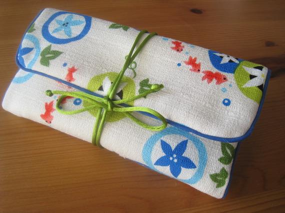 Trousse / Pochette à bijoux de voyage en tissu coton japonais japon bleu vert rouge jaune