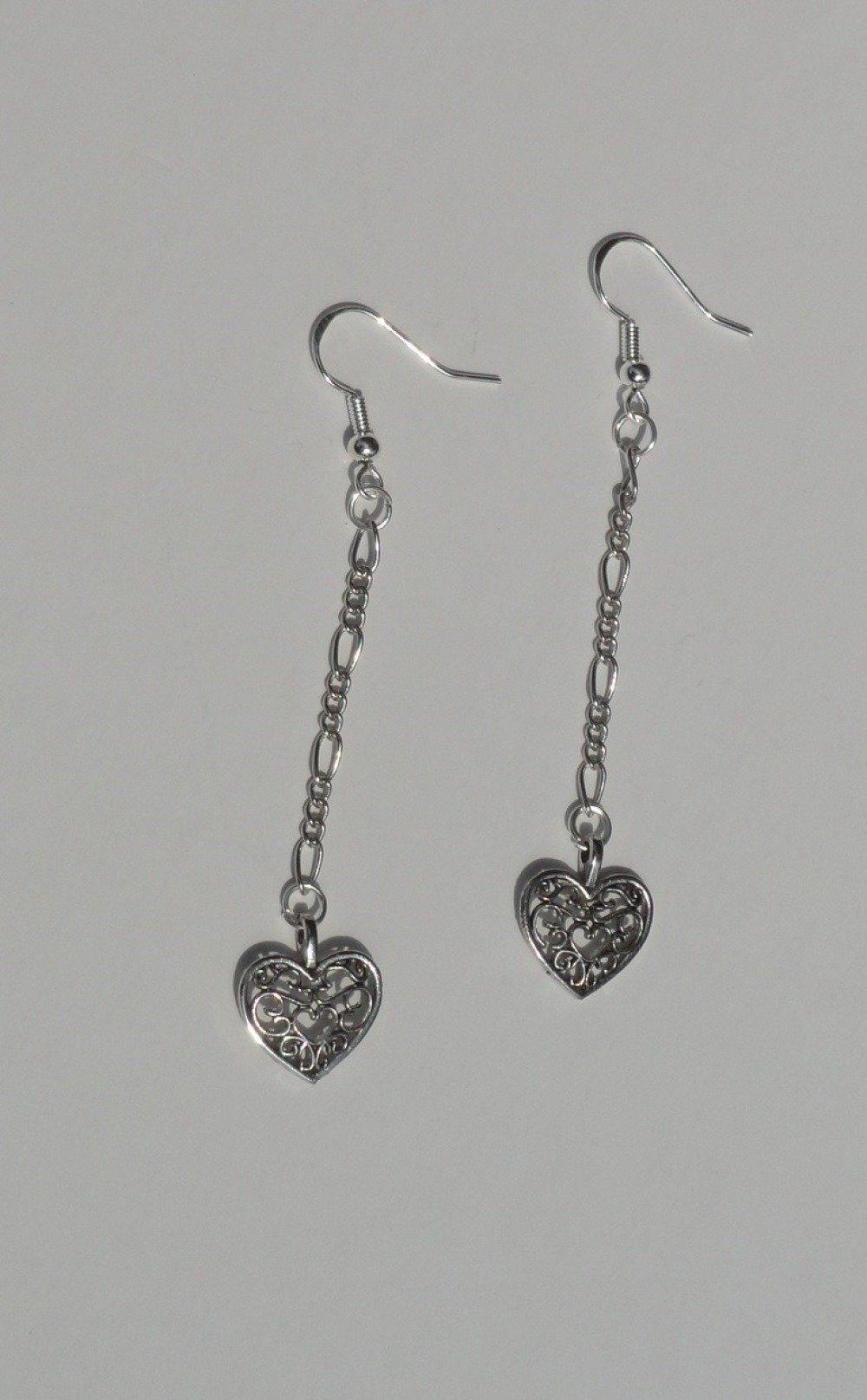 BOUCLES D'OREILLE Crochet Argent 925 avec cœur argenté et chaînette assortie - collection VERANO