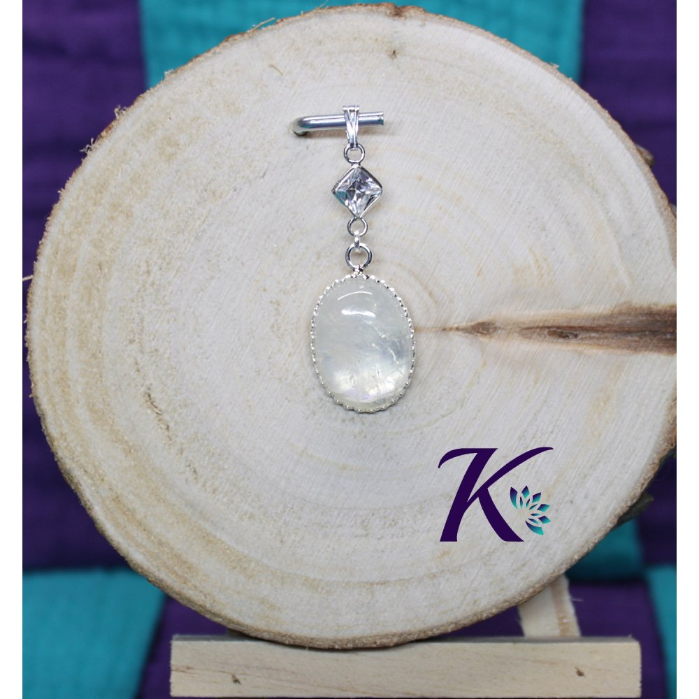 KB_p_12 - Pendentif Argent 925 Perles Pierres Gemmes : Labradorite Blanche Zirconium