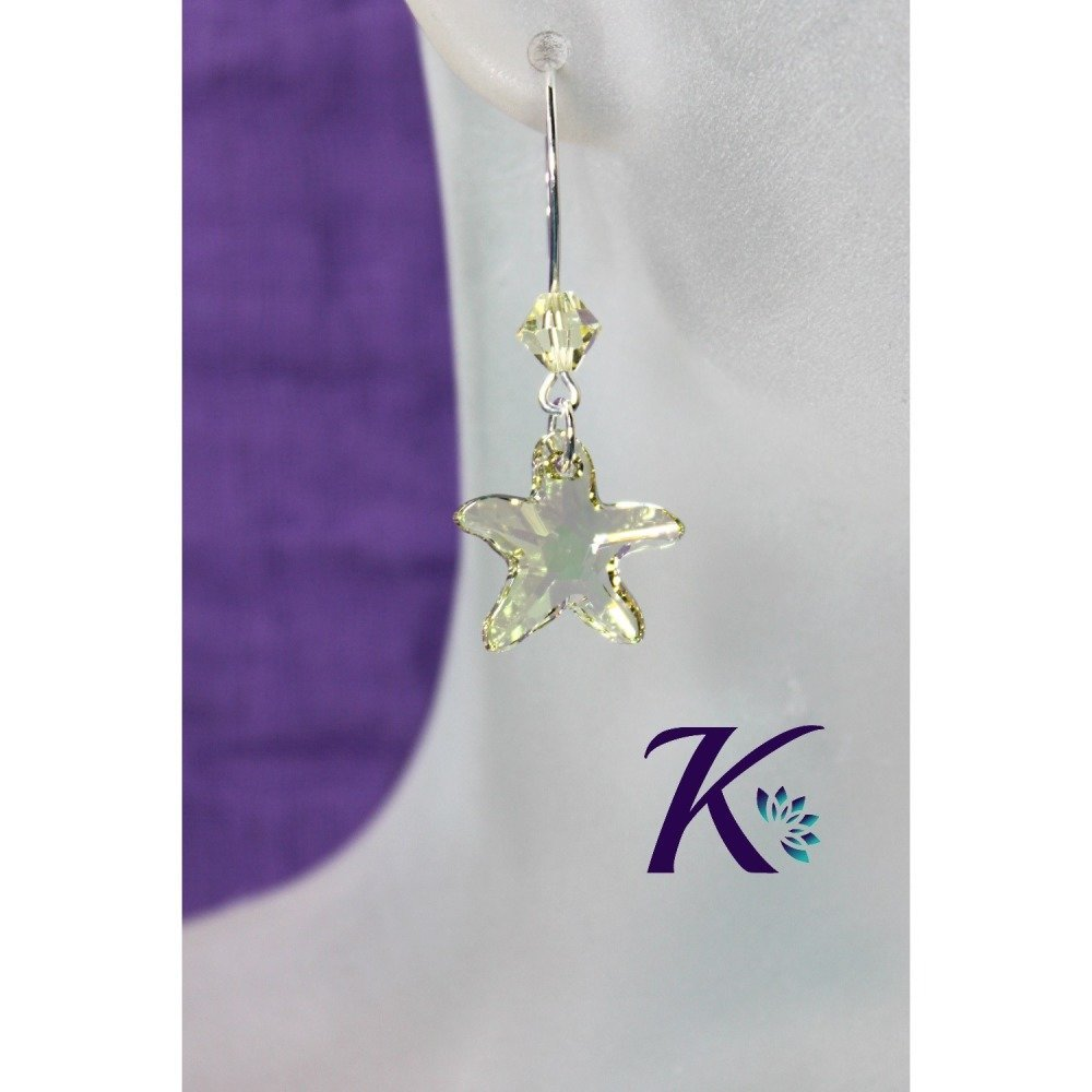 KB_bo_50 -  Boucles d'oreilles Starfish Swarovski Element
