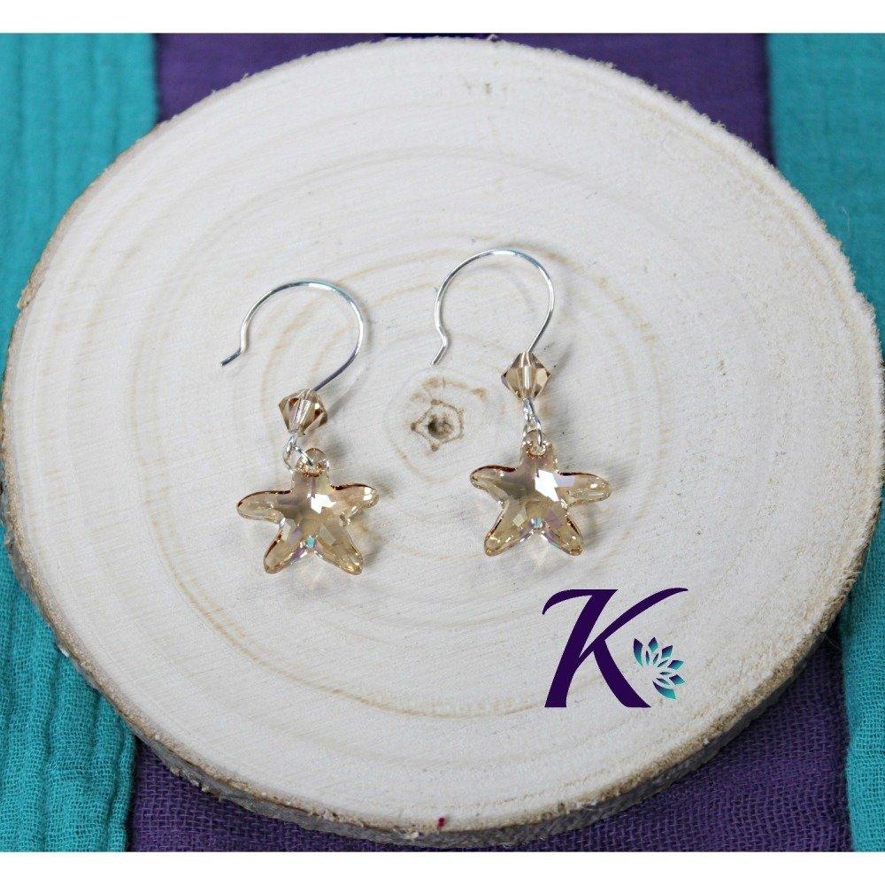 KB_bo_51 -  Boucles d'oreilles Starfish Swarovski Element
