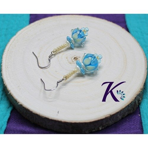 Kb_bo_63 - boucles d'oreilles bleu jaune - perles en verre