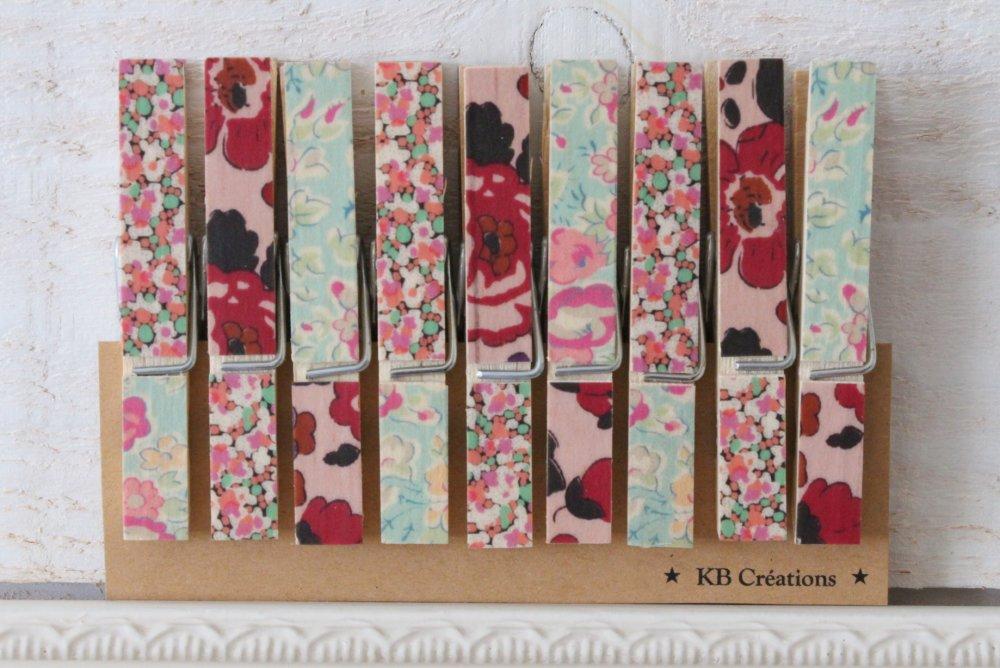 9 Pinces à Linges décorées (n°62) liberty