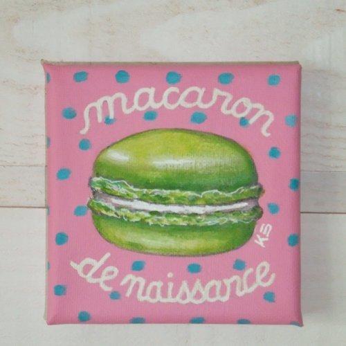 """Tableau peinture """"macaron de naissance"""""""