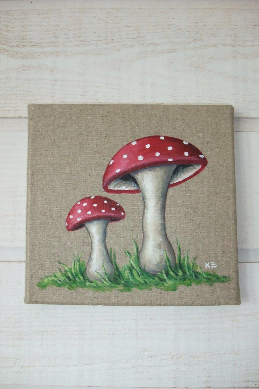 Tableau Peinture Lin Champignon (n°3)