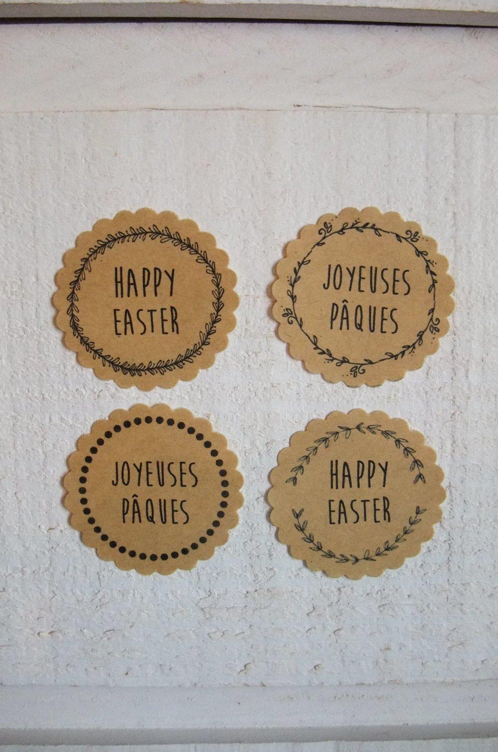 """Lot de 28 stickers """"Pâques"""" (kraft adhésif)"""