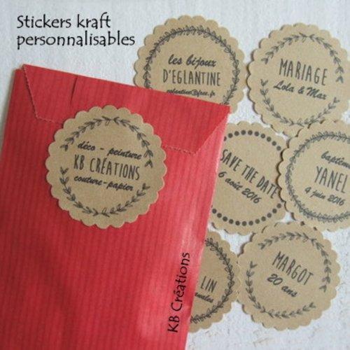 28 stickers personnalisés (autocollant kraft)