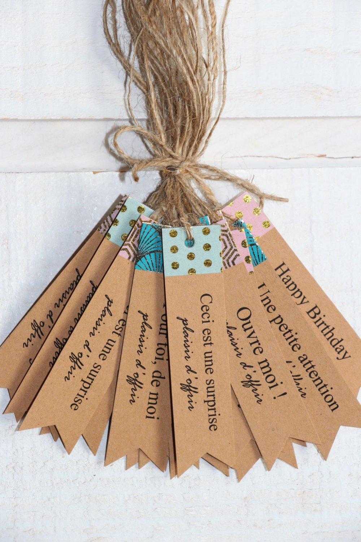 Lot de 20 Etiquettes Paquet Cadeau Kraft /rose /turquoise