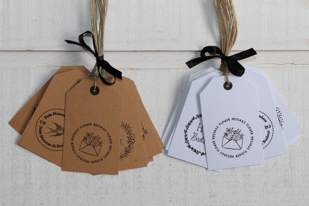 Lot de 10 étiquettes décoratives (blanc ou kraft)