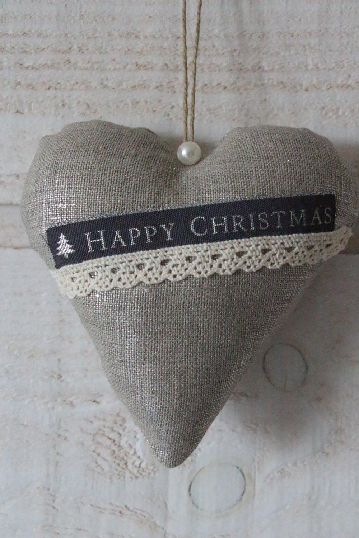 Coeur Noël (lin argenté)
