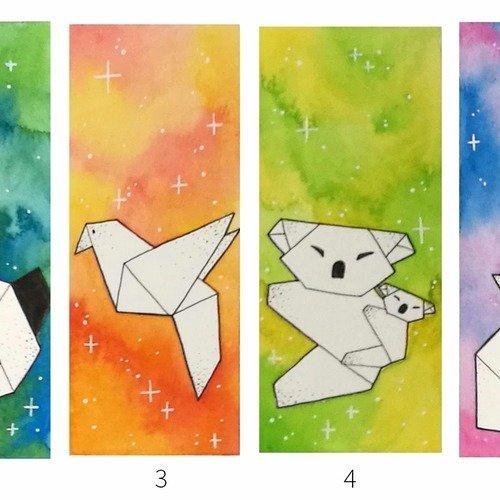Marque page aquarelle - animaux origami
